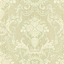 کاغذ دیواری داماسک برای پذیرایی رنگ سبز طوسی ساخت آمریکا از آلبوم داماسک فولیو 30808
